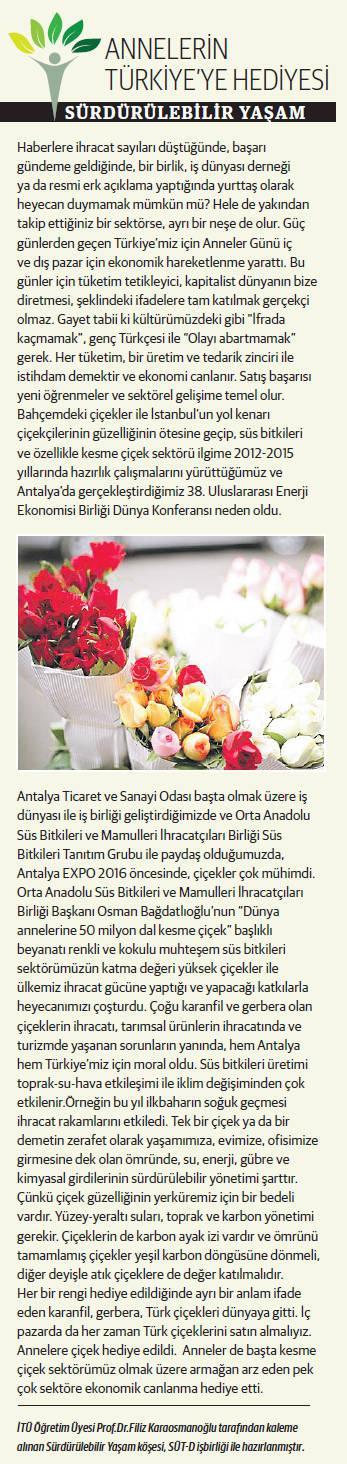 Annelerin Türkiye'ye Hediyesi, Sürdürülebilir Yaşam 16.05.2017