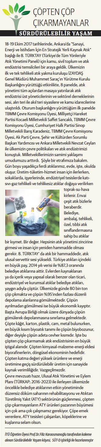 Çöpten Çöp Çıkarmayanlar, Sürdürülebilir Yaşam 02.11.2017