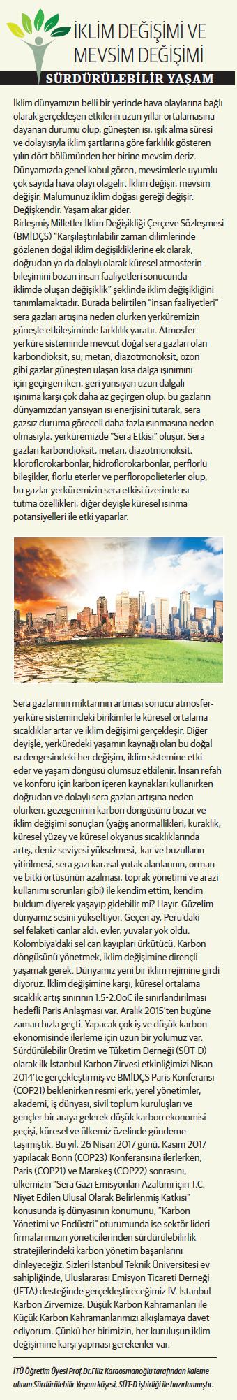 İklim Değişimi ve Mevsim Değişimi, Sürdürülebilir Yaşam 07.04.2017