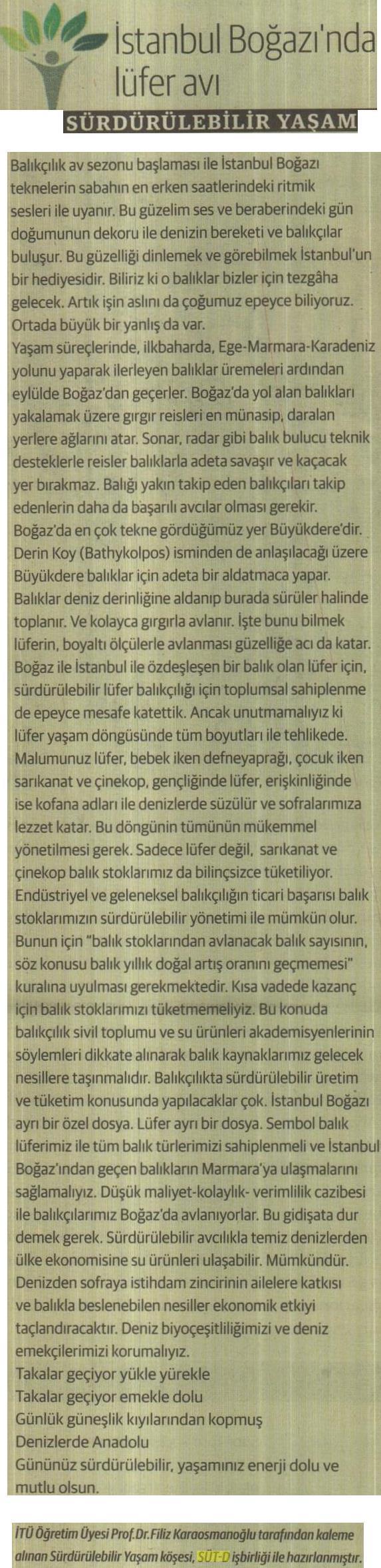 İstanbul Boğazı'nda lufer avı Sürdürülebilir Yaşam 16.09.2015