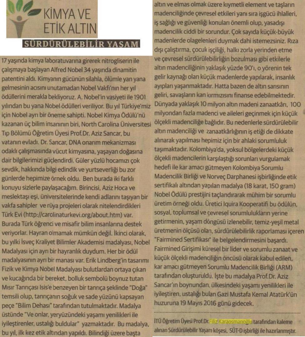 Kimya ve Etik Altın, Sürdürülebilir Yaşam 30.12.2015