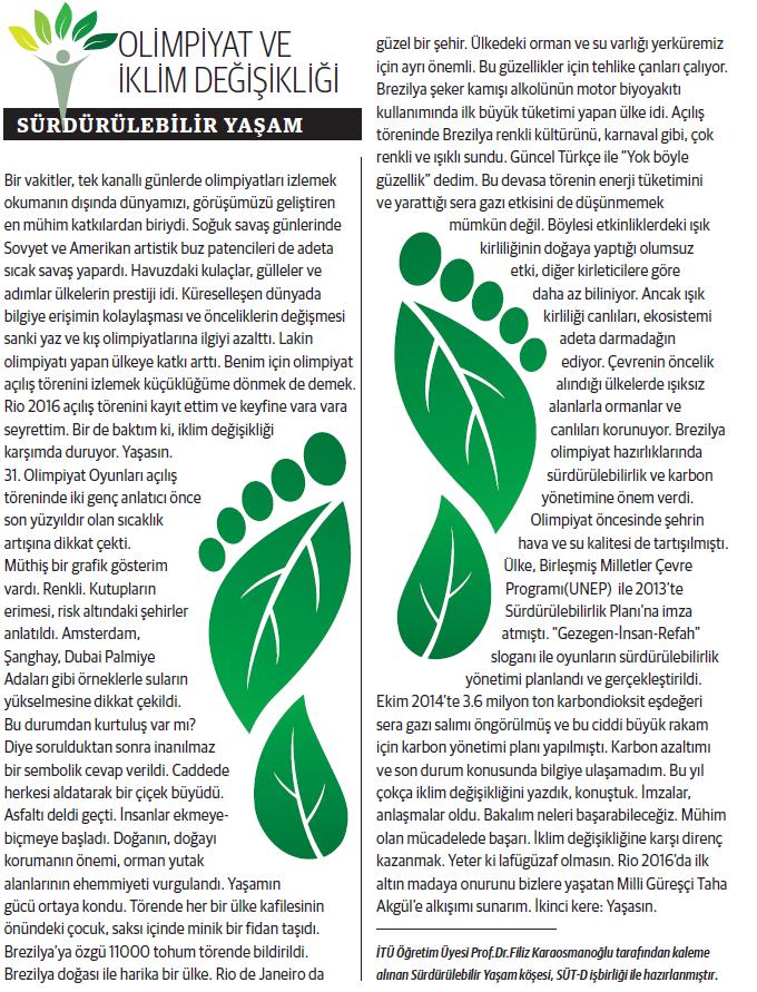 Olimpiyat ve İklim Değisikliği, Sürdürülebilir Yaşam 29.08.2016