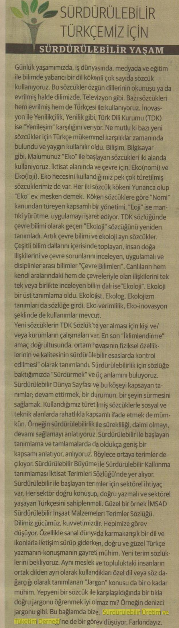 Sürdürülebilir Türkçemiz İçin, Sürdürülebilir Yaşam 23.02.2016