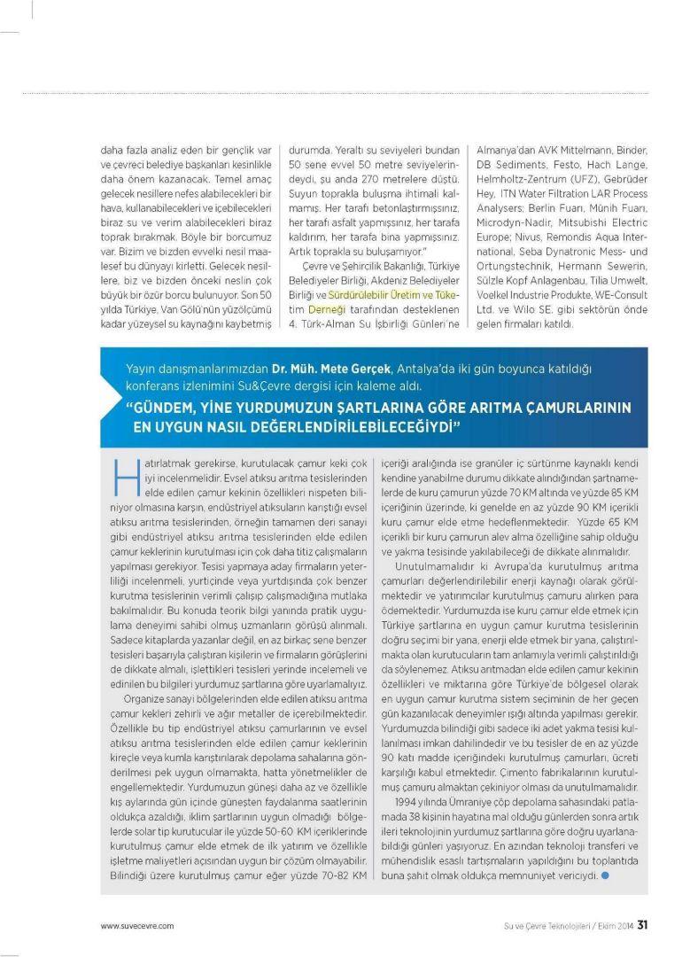 Su ve Çevre Teknolojileri 01.10.2014 2