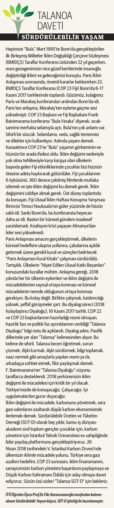 Talanoa Daveti, Sürdürülebilir Yaşam, 04.12.2017
